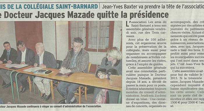 Le Dauphiné Libéré, 7 décembre 2016 : Le docteur Jacques Mazade quitte la présidence