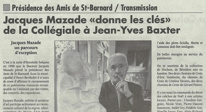L'Impartial, 8 décembre 2016 : Jacques Mazade donne les clés de la collégiale à Jean-Yves Baxter