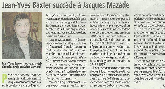 Drôme Hebdo, 22 décembre 2016 : Jean-Yves Baxter succède à Jacques Mazade