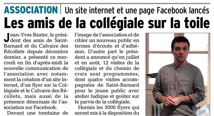 Le Dauphiné Libéré, 13 mai 2017 : Les amis de la collégiale sur la toile