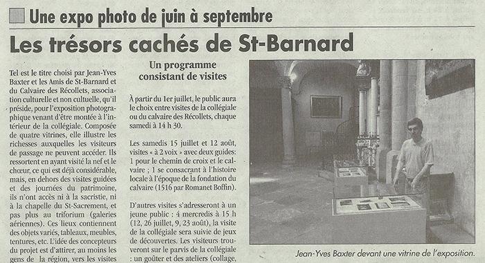 L'Impartial, 6 juillet 2017 : Les trésors cachés de Saint-Barnard