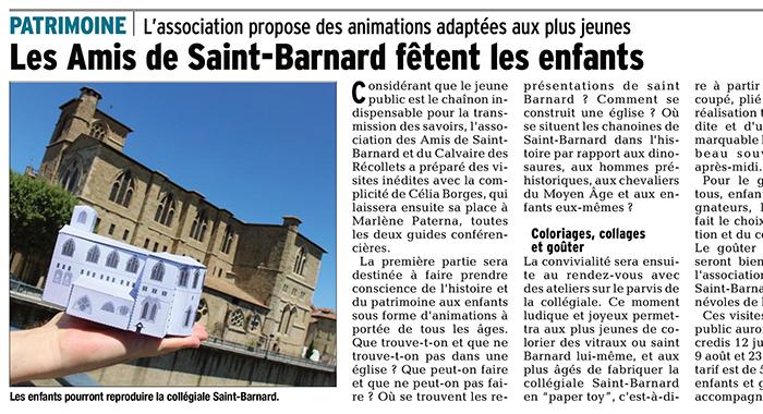 Le Dauphiné Libéré, 8 juillet 2017 : Les Amis de Saint-Barnard fêtent les enfants