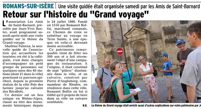 Le Dauphiné Libéré, 19 juillet 2017 : Retour sur l'histoire du «Grand voyage»