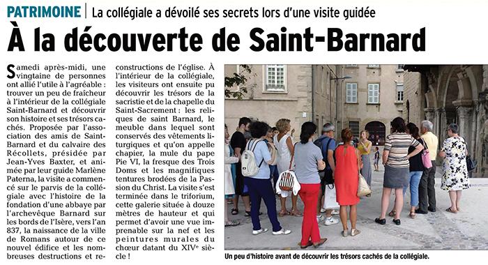 Le Dauphiné Libéré, 24 juillet 2017 : À la découverte de Saint-Barnard
