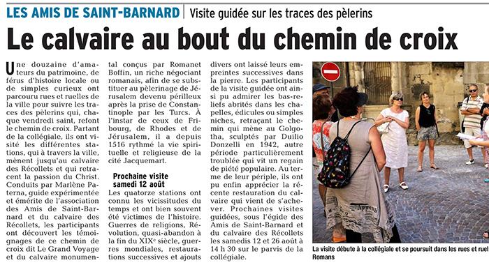 Le Dauphiné Libéré, 2 août 2017 : Le calvaire au bout du chemin de croix