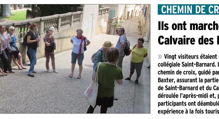 Le Dauphiné Libéré, 13 août 2017 : Ils ont marché jusqu'au Calvaire des Récollets