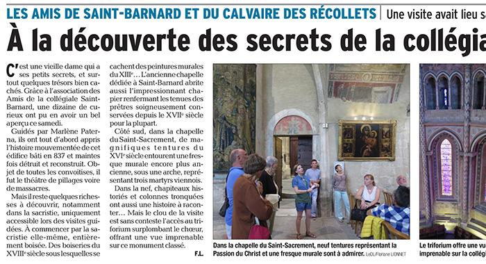 Le Dauphiné Libéré, 21 août 2017 : À la découverte des secrets de la collégiale