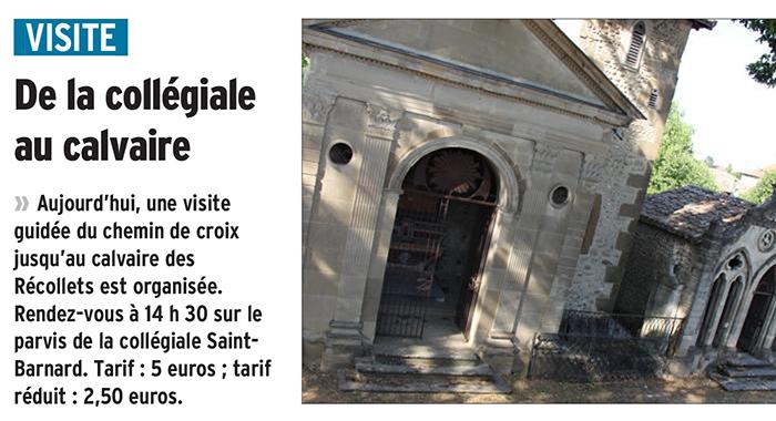 Le Dauphiné Libéré, 26 août 2017 : De la collégiale au calvaire