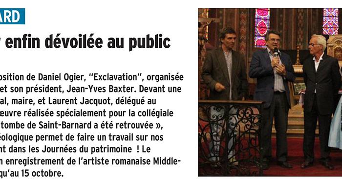 Le Dauphiné Libéré, 15 septembre 2017 : L'oeuvre de Daniel Ogier enfin dévoilée au public