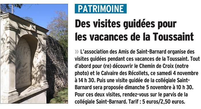 Le Dauphiné Libéré, 30 octobre 2017 : Des visites guidées pour les vacances de la Toussaint