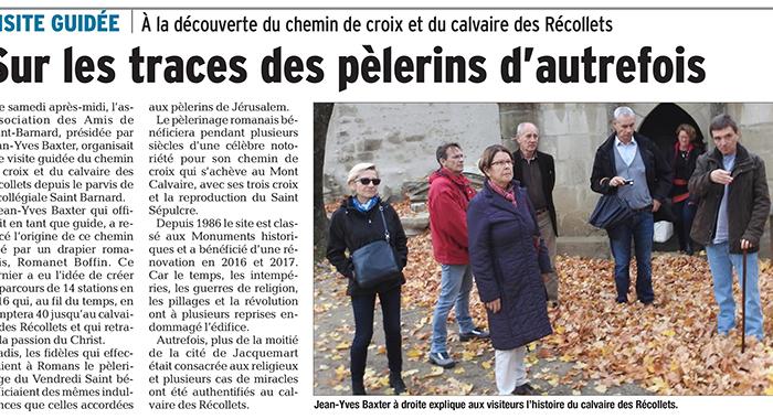 Le Dauphiné Libéré, 7 novembre 2017 : Sur les traces des pèlerins d'autrefois