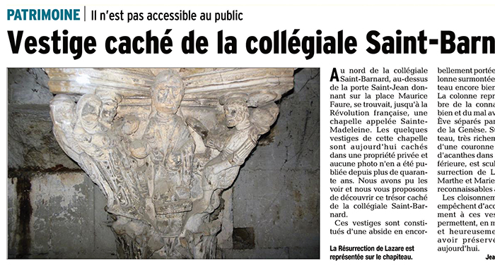 Le Dauphiné Libéré, 7 novembre 2017 : Vestige caché de la collégiale Saint-Barnard