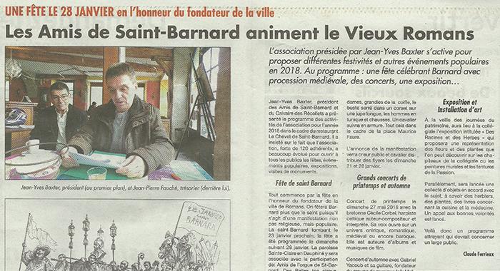 L'Impartial, 4 janvier 2018 : Les Amis de Saint-Barnard animent le Vieux Romans