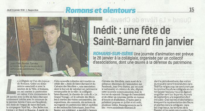 Drôme Hebdo, 11 janvier 2018 : Inédit : une fête de Saint-Barnard fin janvier