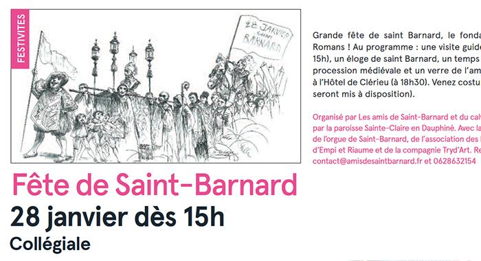 Romans Mag, 20 janvier 2018 : Fête de Saint-Barnard le 28 janvier