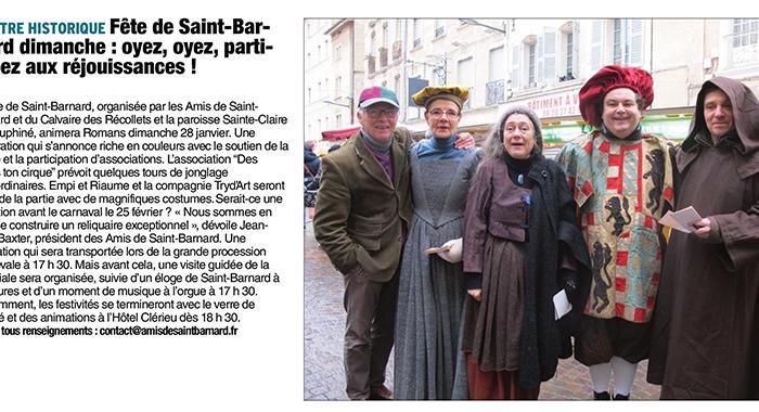 Le Dauphiné Libéré, 25 janvier 2018 : Fête de Saint-Barnard dimanche : oyez, oyez, participez aux réjouissances !