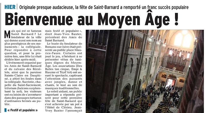 Le Dauphiné Libéré, 29 janvier 2018 : Bienvenue au Moyen Âge !