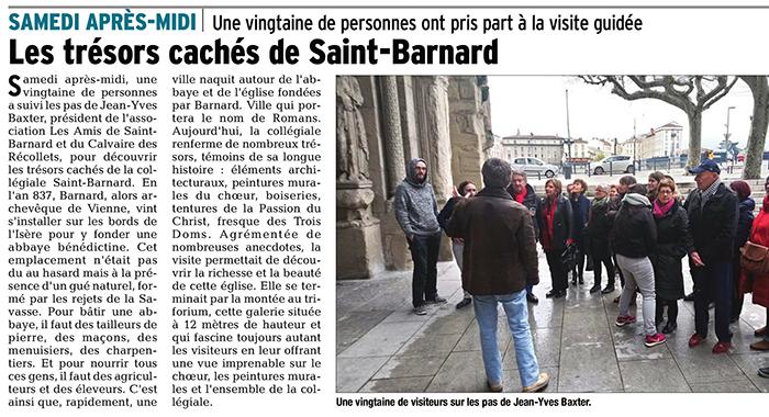 Le Dauphiné Libéré, 19 mars 2018 : Les trésors cachés de Saint-Barnard