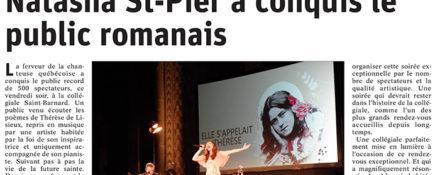 Le Dauphiné Libéré, 18 mars 2019 : Natasha St-Pier a conquis le public romanais